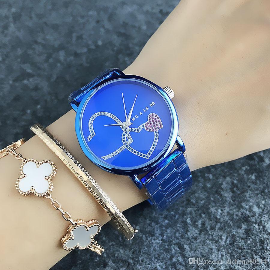 ساعات تصميم M العلامة التجارية الكوارتز المعصم للنساء فتاة الملونة الكريستال الحب القلب الفرقة نمط شكل معدن الفولاذ M55
