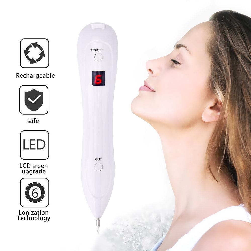 Máquina de Remoção de sardas do Laser profissional 6 Engrenagem Display LCD Névoa Verrugas Da Pele Tag Tatuagem Dot ponto Toupeira Borracha Spot Pen Sweep Kit