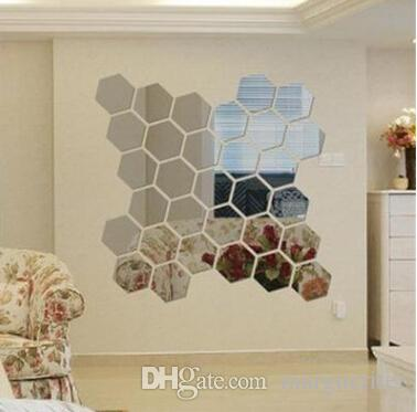 Hexagon Acrylic Mirror Wall Stickers Removable 3D Sticker Waterproof Television Wall Decal Bedroom Living Room Decoration 12pcs