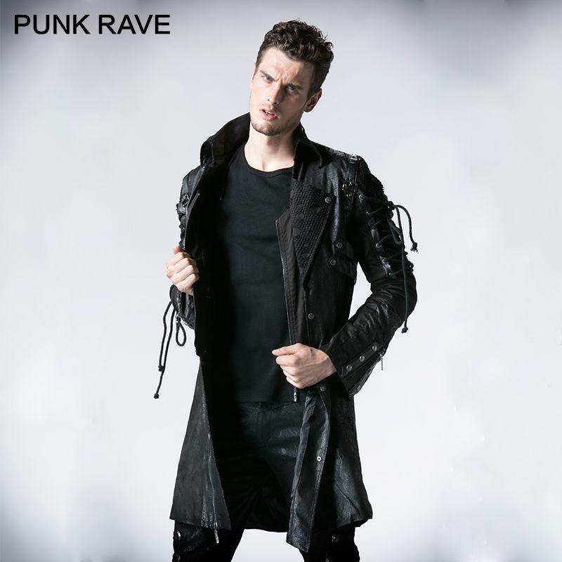 PUNK RAVE Punk Sonbahar Kış Ceket Batı PU Deri Yarık Unisex Gotik Retro Tarzı Faux Deri Erkekler Uzun Palto