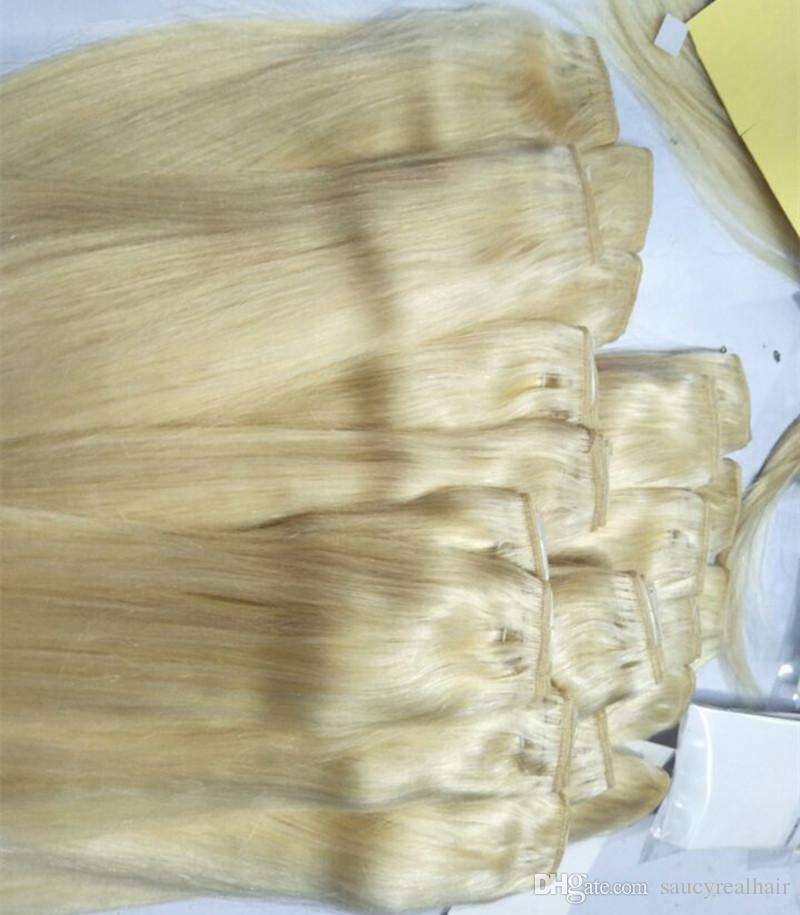 Top Quality 100g 5clips set cheap 100% human hair color blonde Single Drawn clip in hair extensions