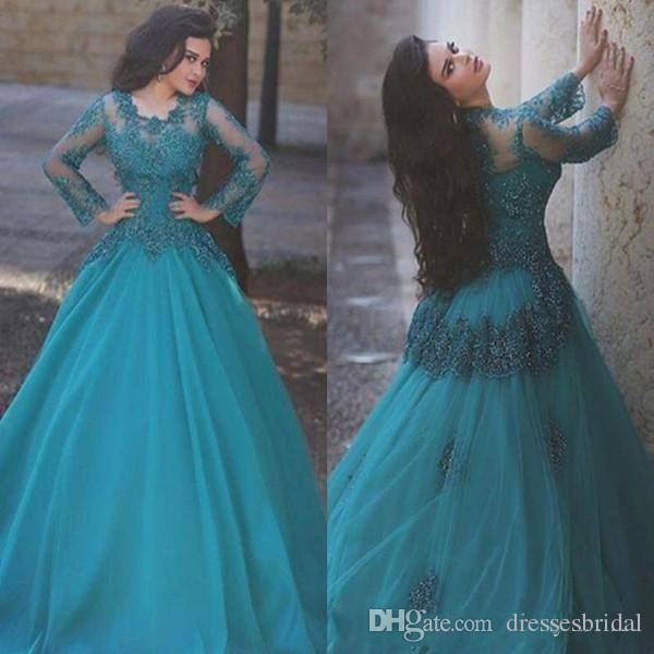 2018 Elegant Prom Dresses Jewel Neck Illusion Long Sleeves Hunter Lace Appliques Crystal Bling Tulle Sweep Train Evening Dresses Party Gowns