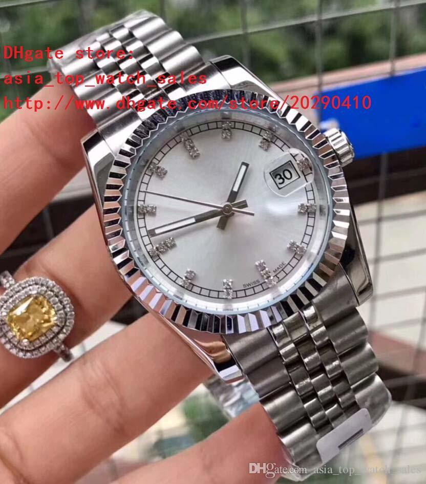 3 colores 2018 la última versión 116234 Platino diamante marca 38 mm 316L acero mecánico Relojes automáticos de alta calidad para mujer