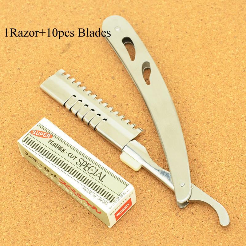 Meisha piegatura dell'acciaio inossidabile rasatura rasoio salone di taglio dei capelli di rimozione rasatura dei capelli coltello rasoio del barbiere governare Strumento + 10pcs Blades HC0003