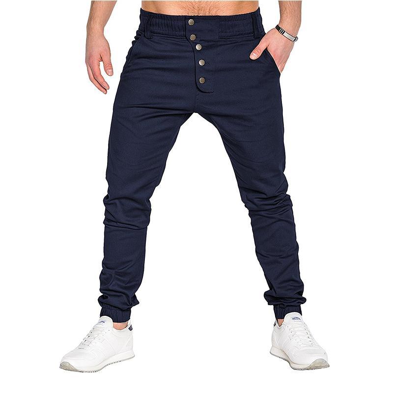2017 Новый дизайн Повседневная Мужчины Брюки Хлопок Тонкий Pant Кнопка брюки Мода Бизнес Твердые Хаки Черный Брюки Мужчины