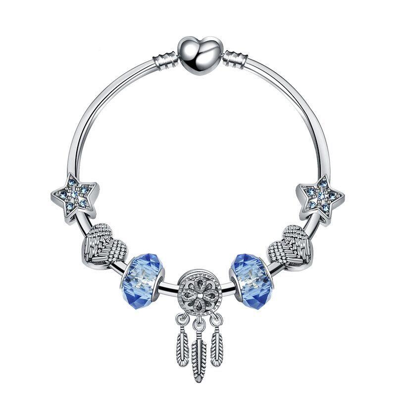 18+3 CM Charme Perlen Armbänder Mode Armband Traumfänger Anhänger 925 Silber Armreif blue star DIY Schmuck Zubehör Hochzeitsgeschenk