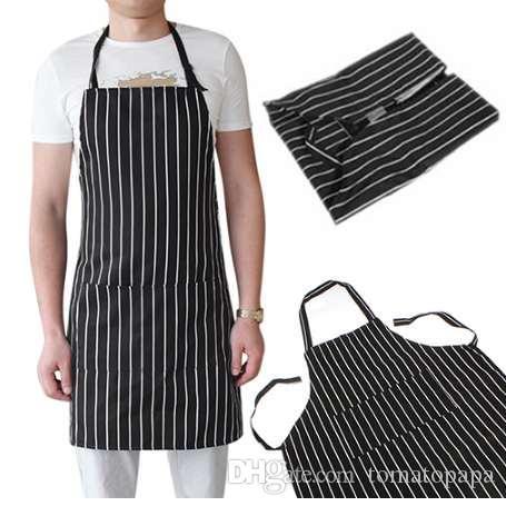 Grembiule regolabile per adulti con pettorina nera con 2 tasche cuoco cuoco cucina