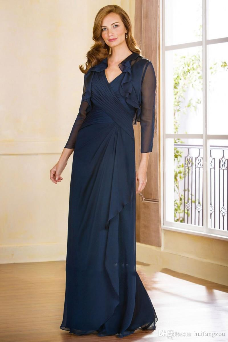 Mother of The Bride Dress V Neck Mother Dresses Ruffles Evening Gowns Jacket