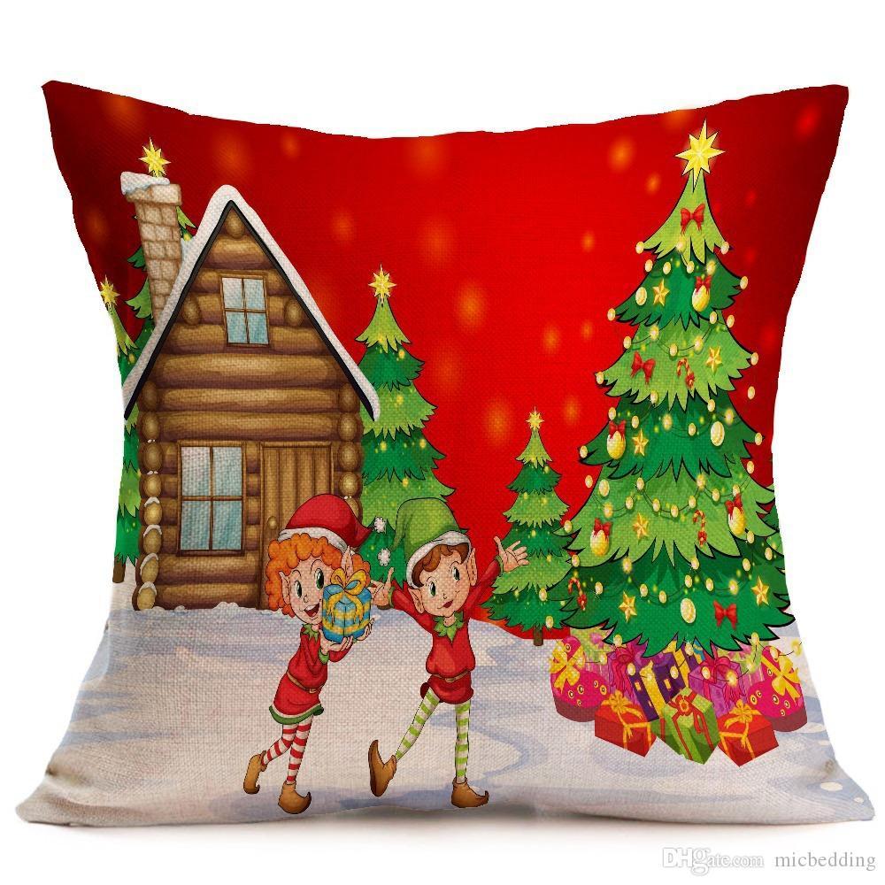 modello di festa federa Produttori all'ingrosso su ordinazione di Natale Elk Natale divano auto albero cuscino biancheria decration pillowcase001