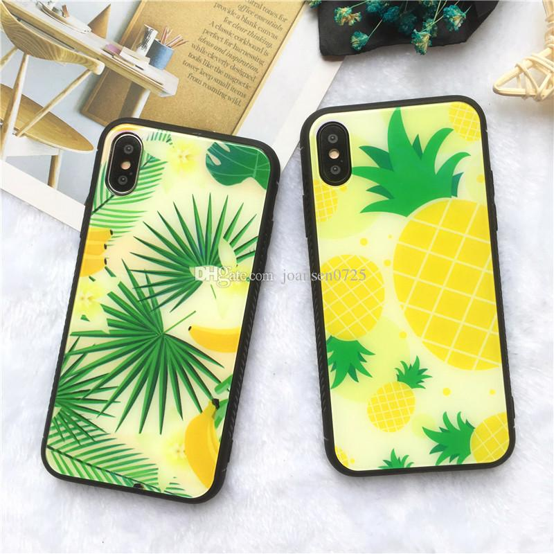Premium Blue Ray Tempered Glass Phone Case for iphone X iphone Case TPU PC Summer Fruits Pattern Back Cover Shell for 6 6s 7 8 plus
