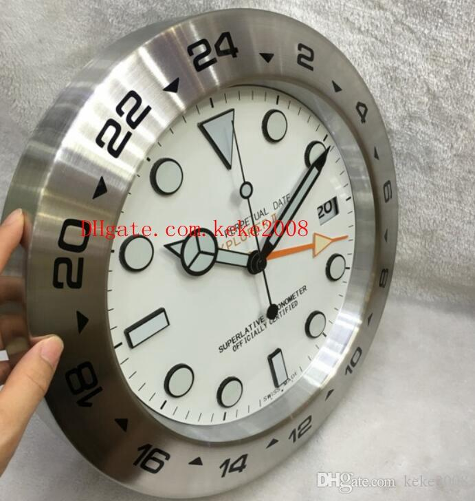 Excelente reloj de pared de moda Explorer 216570 esfera blanca de acero inoxidable decoración del hogar 34 cm x 5 cm de cuarzo relojes de pared luminiscentes electrónicos