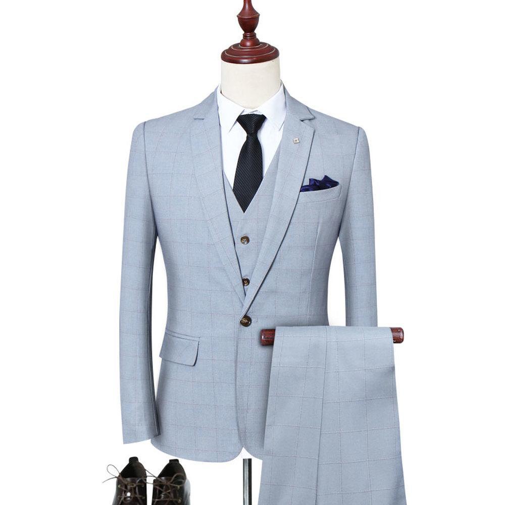 Jacken 5XL Set langärmelig mit Anzugsanzug karierten Westen und hoher großes männerhose hochzeit männliche smoking geschäftsqualität iwmke