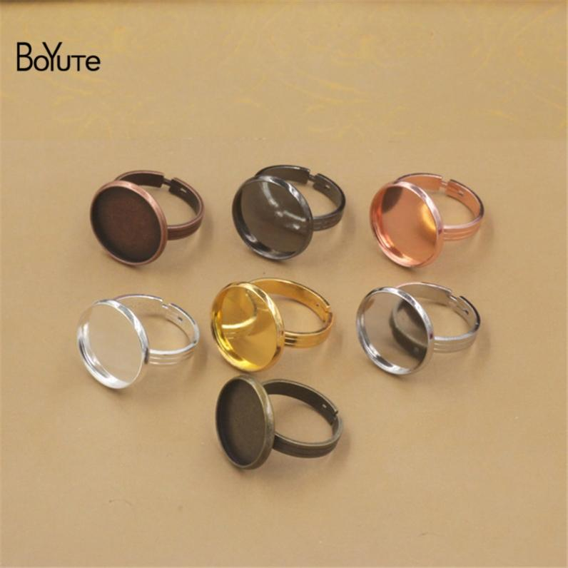 BoYuTe 20Pcs Gold Plated Adjustable Ring Blank Bezel Tray Round 10MM 12MM 14MM 16MM 18MM 20MM Cabochon Base Setting Diy Jewelry Making
