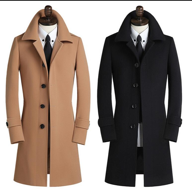 2017 New men's clothing The spring and autumn Coat NEW MENS long slim coat casual cashmere single breasted jacket