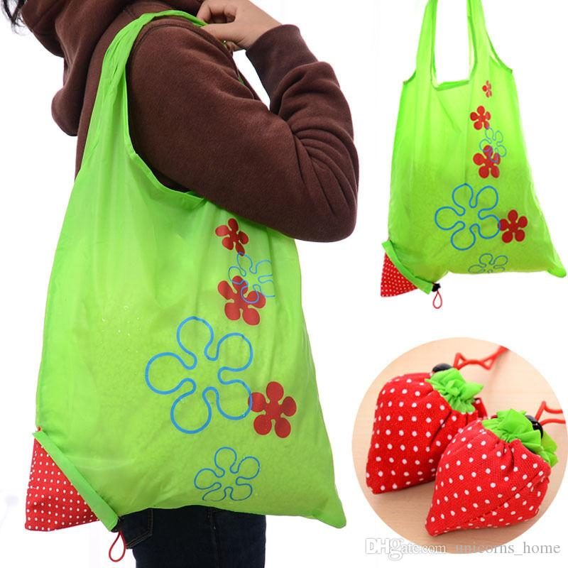 Çilek Katlanabilir çanta Kullanımlık Alışveriş Çanta Kılıfı Depolama Çanta Çilek Katlanabilir Alışveriş Torbaları Saklama Torbaları CNY475