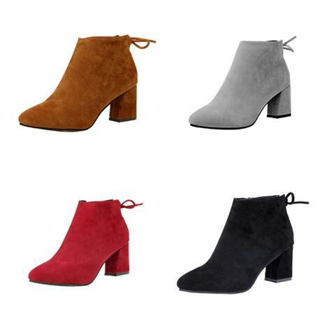 2018 mulher outono inverno Arco Zip Camurça Botas de cabeça Afiada grosso calcanhar Martin botas de salto Alto sapatos Moer botas Curtas Tamanho grande 34-45