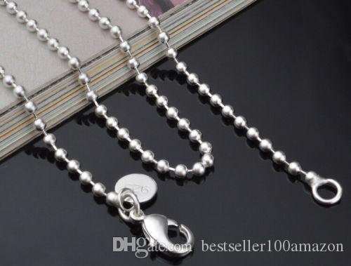 Fine 925 Sterling Silver Necklace 2MM 16-24Inch Bead Chain Link, Fine Real 2Pcs 925 Silver Link Chain Italy Necklace New Style Hot SC06
