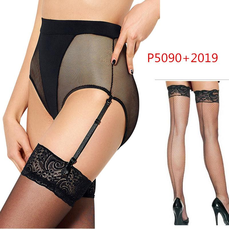PS5090 Sexy Lingerie Sexy Garter Belt Stocking Set Hot Sale Knee High Stocking+Garter Panty 2pcs Lace Hot Pantyhose Stocking Set
