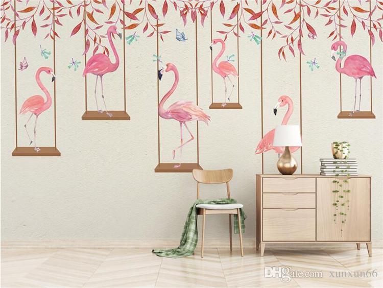 Papel de parede da foto de alta qualidade efeito 3d dos desenhos animados kids room mural da parede rosa flamingo quarto sala de estar papel de parede de fundo