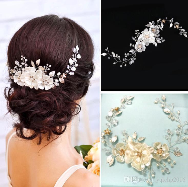 Noiva artesanal pérola headwear branco pérola folha vestido de noiva cinto de acessórios