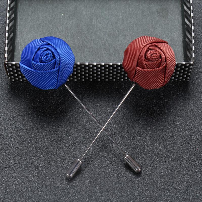 Оптовая 50 шт. / лот бизнес повседневная мужская отворотом булавки мужская высокого класса темперамент брошь ручной работы ткань Роза брошь для свадьбы