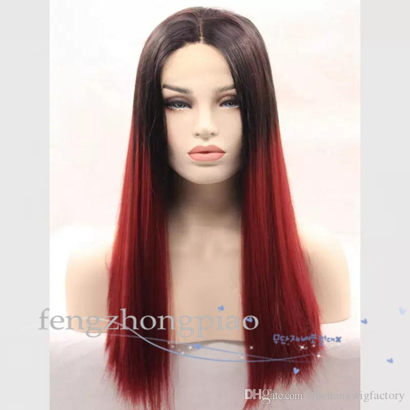 FZP Natural black/Wine red/Pink synthetic hair prodcuts hot sale Fashional Long wavy wig two tones not full lace front wigs ombre wig