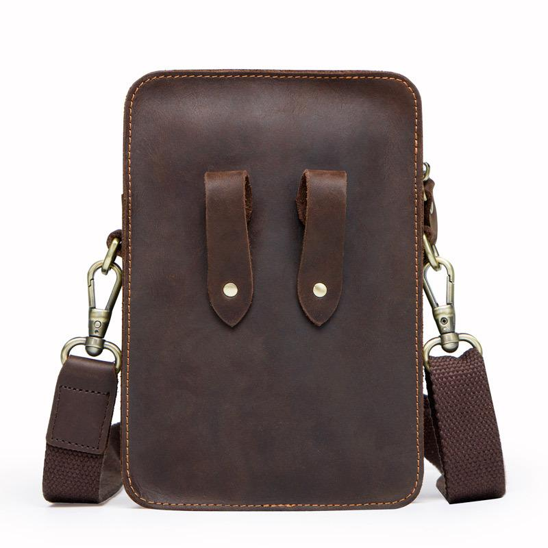 Factory supplies new products fashion leather satchel men's single-shoulder bag retro mad horse cowhide mobile phone men's bag