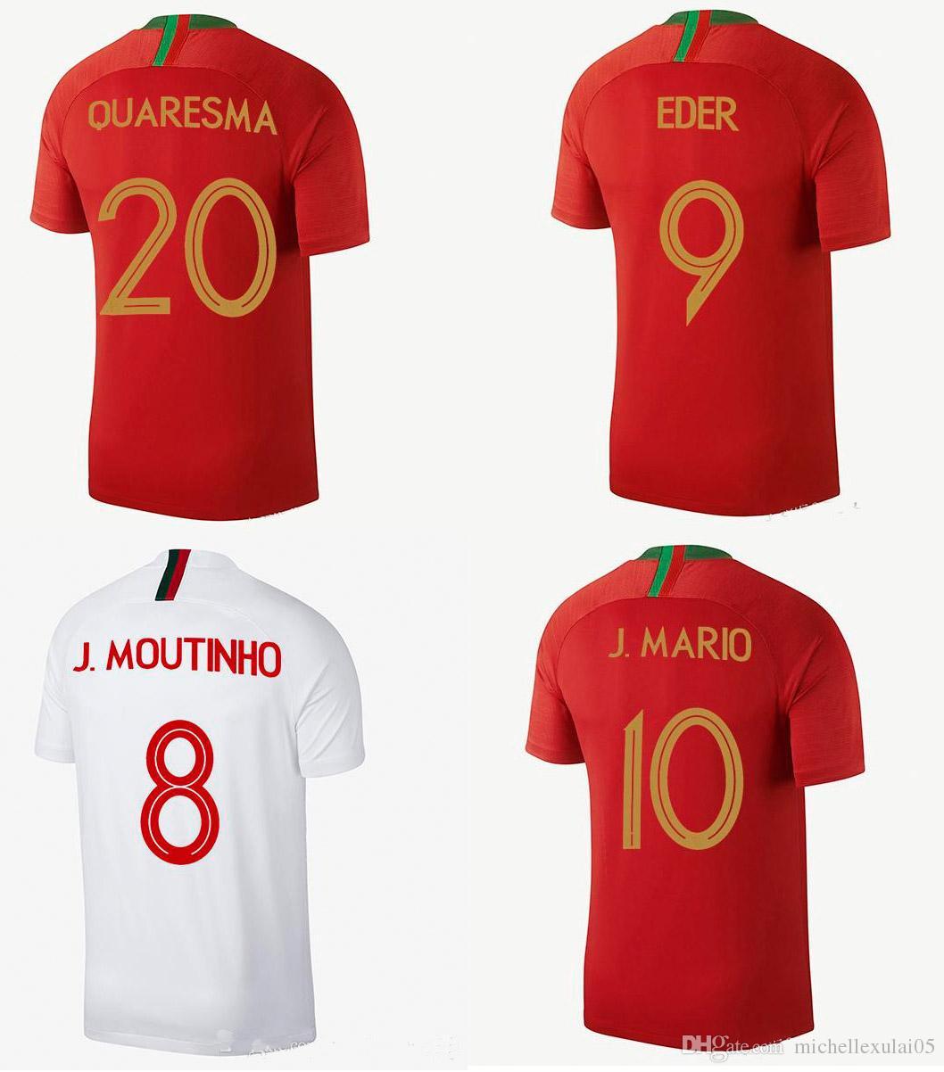 New Nation Team Soccer Jersey 2018 world cup MARIO QUARESMA Football Shirts MOUTINHO away white Camiseta de futbol EDER maillot de foot