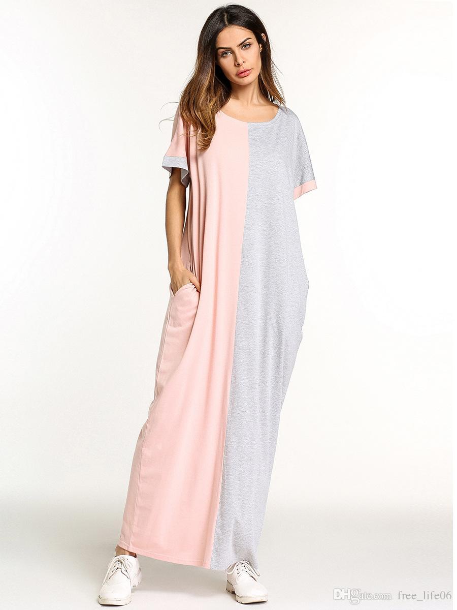 Großhandel Sommer 20 Lose Große Größe Lässig Maxi Langes Kleid Für Frauen  Nahen Osten Muslimischen Stil Farbe Block T Shirt Kleider Grau Von