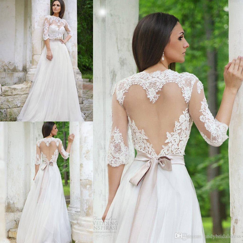 Elegant 2019 Lace Wedding Dresses Half Sleeves Jewel Neck Heart-shaped Keyhole Illusion tulle Open Back Wedding Gowns Beach Bridal Dress
