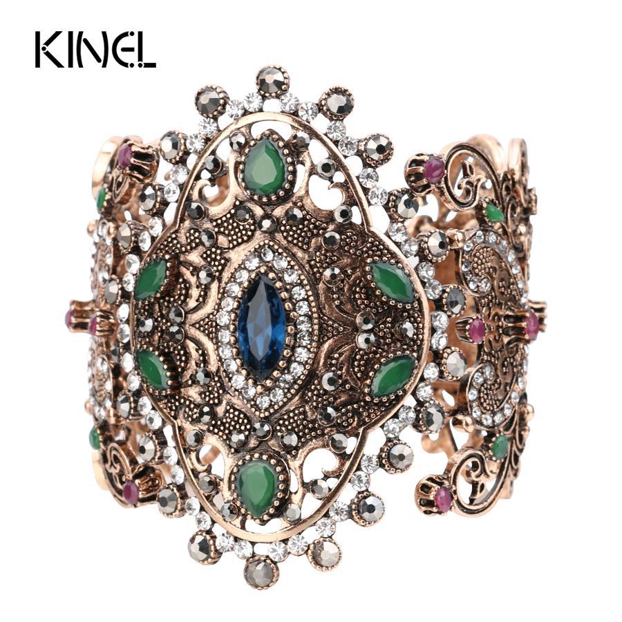 2017 Charme Unique Rétro Manchette Bracelet Pour Femmes Or Couleur Turc Style peut Ajuster Taille Grand Bracelet Partie Bijoux Accessoires