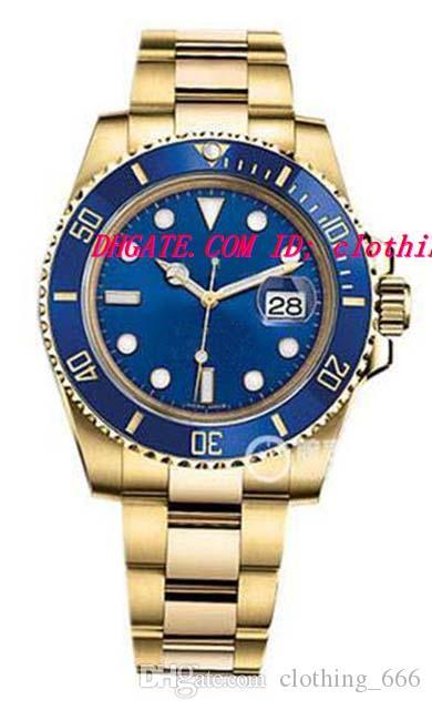 Роскошные наручные часы керамический безель 18k желтое золото синий / черный циферблат часы 116618 неношеные механические автоматические мужские часы высшего качества
