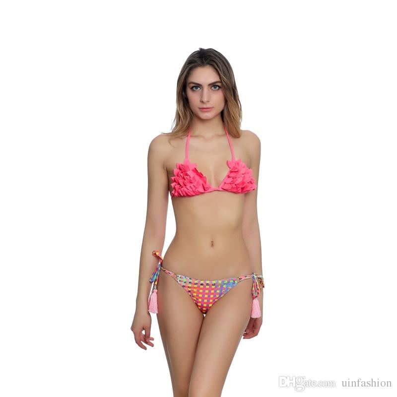 Mulheres Sexy Biquíni Brasileiro Verão Swimsuit Two-piece Bandage Bikinis Set Impresso Borla Maiôs Rosa Cintura Baixa Backless Swimwear