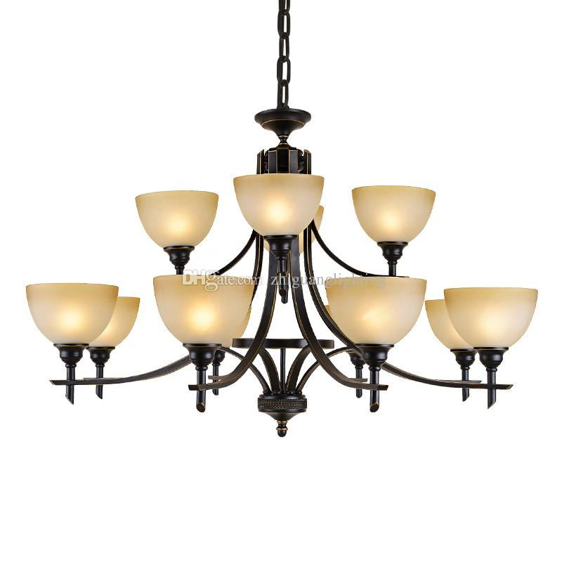 Old Bronze chandliers for foyer room Antique Bronze 6-light Crystal and Dark Bronze Finish Iron Chandelier classic chandelier