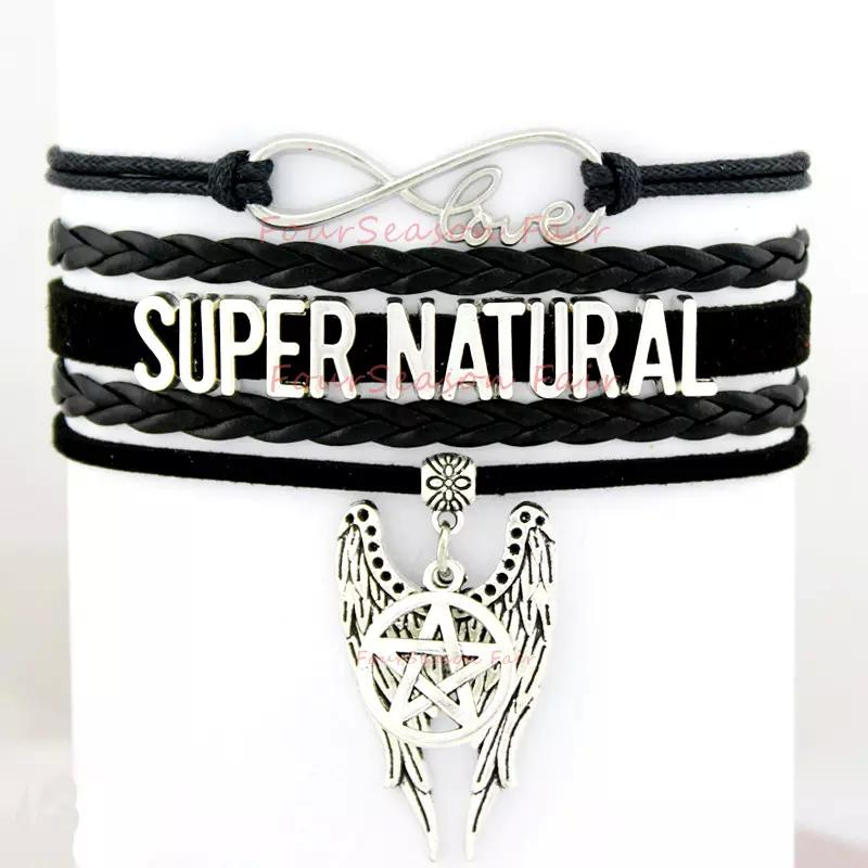 Benutzerdefinierte-Unendlich Liebe Supernatural Wrap Armband Pentagram Flügel Charme Walking Dead Wax Cord Leder Armband Einstellbar Armreif