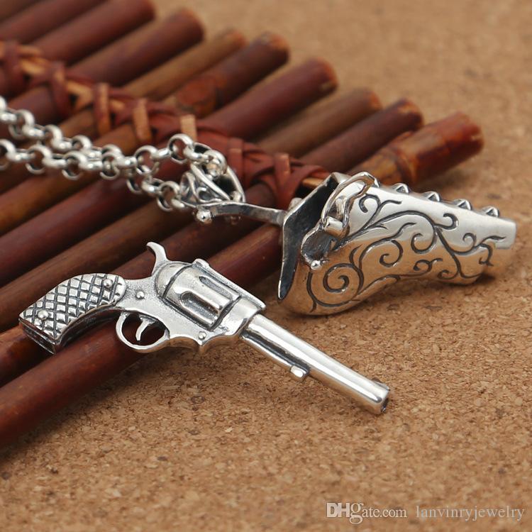 العلامة التجارية الجديدة 925 الفضة الاسترليني مصمم المجوهرات خمر فاسق من صنع يدوي الاستبداد قلادة مسدس بارد دون سلسلة بندقية يمكن فتح قادرة