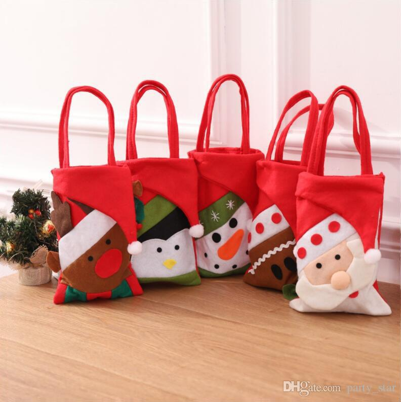 Новый 5 Стиль Рождество Мешок Руки Подарок Сумка Дети Покупки Санта-Клаус Снеговик Конфеты Мешок Рождественские Украшения Mix Заказ