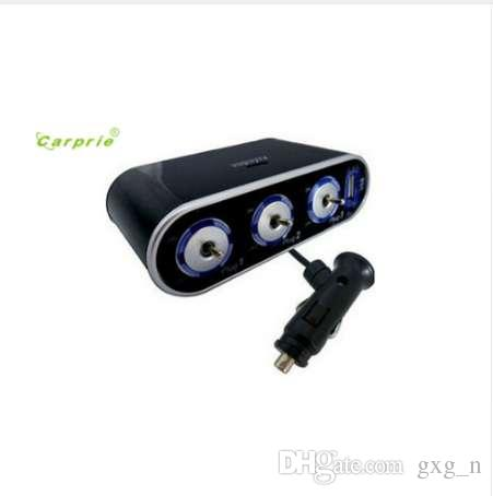Auto car-styling car styling 3 Way Triple Car Cigarette Lighter Socket Splitter 12V/24V +USB+LED Light Switch Aux Auto