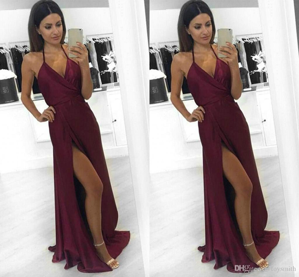 Free Shipping 2018 Sexy Satin Burgundy Said Split Halter Evening Dress Elegant A-Line Sleeveless V-Neck Party Prom Dress