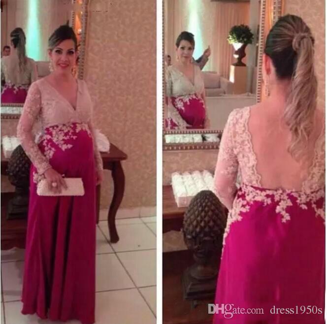 2019 robes de bal de maternité folles col en V dentelle dos nu pure manches longues, plus la taille enceintes longues robes de bal