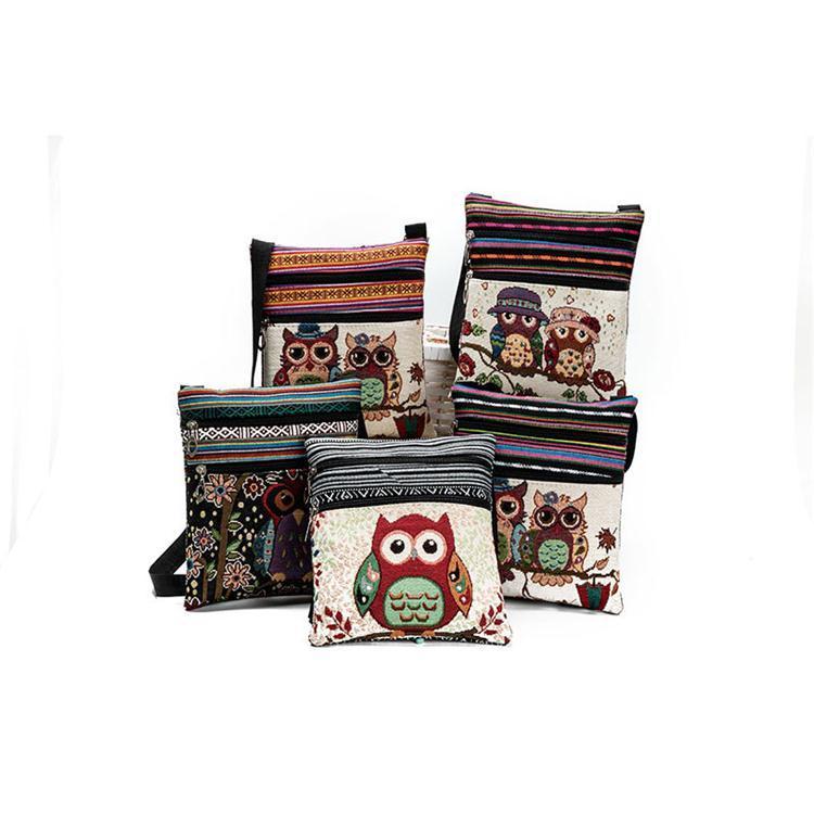Cartoon Owl Printed Messenger Bags For Girls Women Female Mini Flap Owl Handbags Shoulder Bags Double Zipper