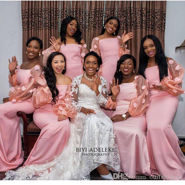 2019 Südafrika Stil Langarm Brautjungfernkleider 3D Flora Appliques Elastisch Wie Satin Trauzeugin Hochzeitsgast Kleid Nach Maß