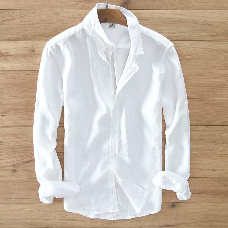 Men's 100% pure linen long-sleeved shirt men  clothing men shirt S-3XL 5 colors solid white shirts camisa shirts mens