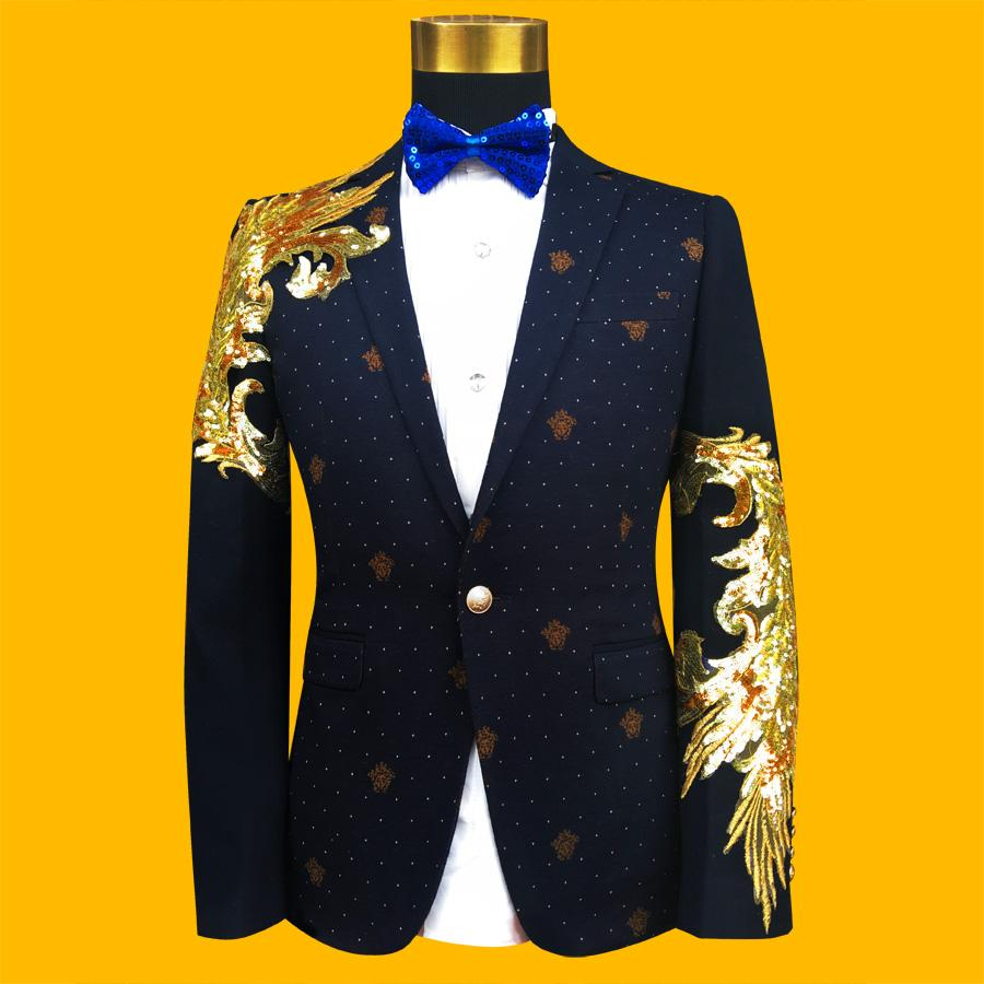 2019 New Slim Male Suits Blazer Blue/Black Gold Sequins Embroidery Fashion  Men Performance Costume Stage Wear Star Concert Jacket Coa From Fos1,