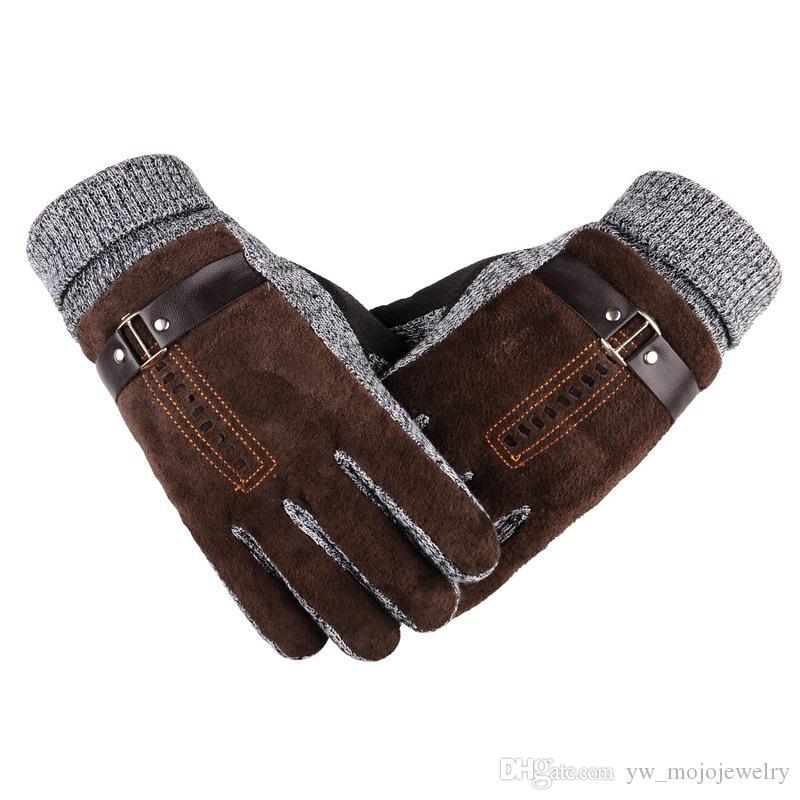 Dans la vente de Mens préférés Noir et Brown chaud gant de gant de doigt de la peau de porcs de pique-vélo de vélo de vélo de gants pour cadeau