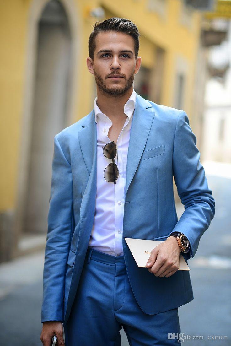 Handsome Men Suit 2018 Royal Blue Groomsmen Tuxedos Two Buttons Mens Suits for Wedding Best Man Suits summer jacket (Jacket+Pants)