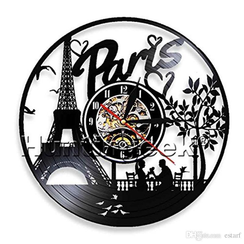 Paris amour personnalité vinyle horloge murale moderne décor à la maison artisanat cadeaux créatifs à la main salon décoration mur art noir horloge à quartz