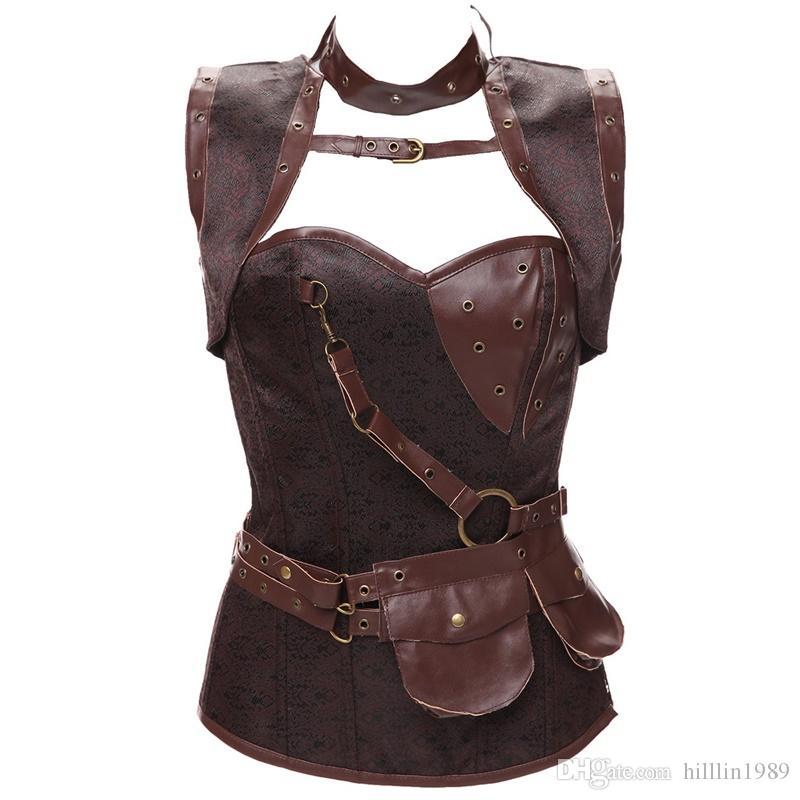 Femmes Médiéval Gothique Corset Steampunk Bustier Faux Cuir Body Shaper Fantaisie Lingerie Bustier Désossé Haut Costume
