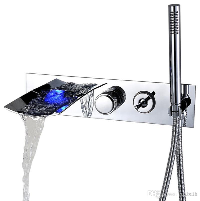 Rolya LED Waterfall Настенный смеситель для ванны Освещение на водной основе Смесители для купания с ручным душем Chrome
