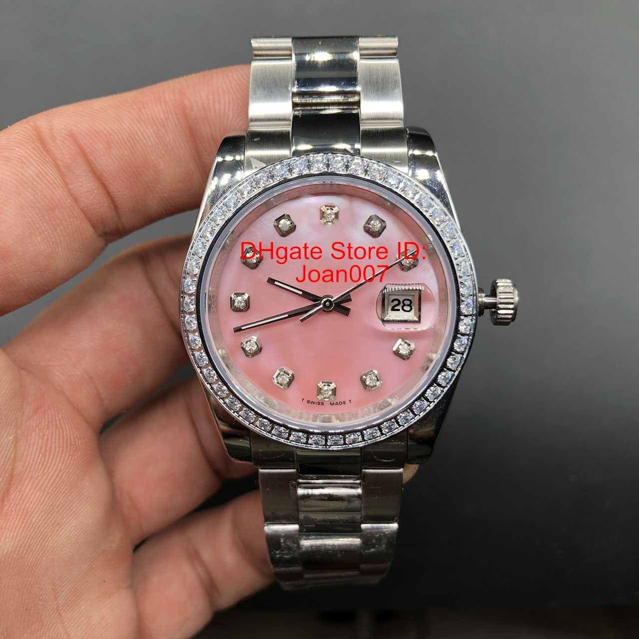 시계 다이아몬드 베젤 핑크 대통령 여성 스테인레스 시계 여자 숙녀 자동 기계 손목 시계 36mm 다이얼
